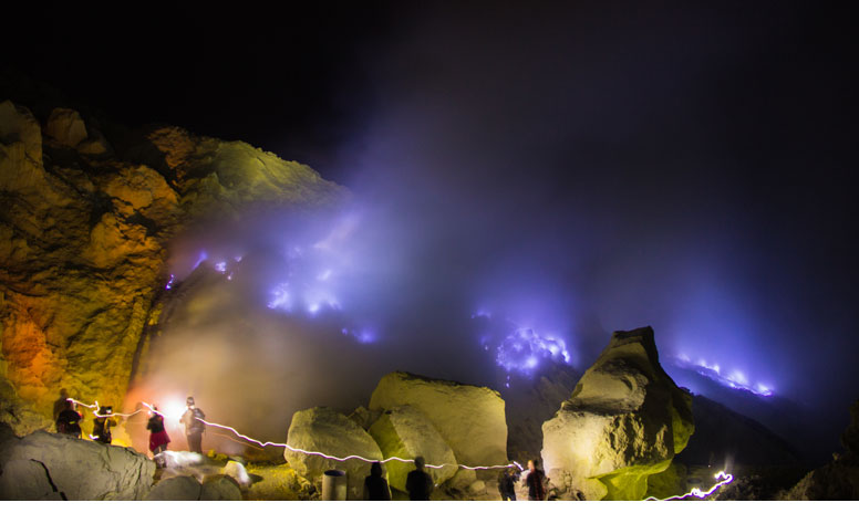Mount Ijen Crater and Blue Fire